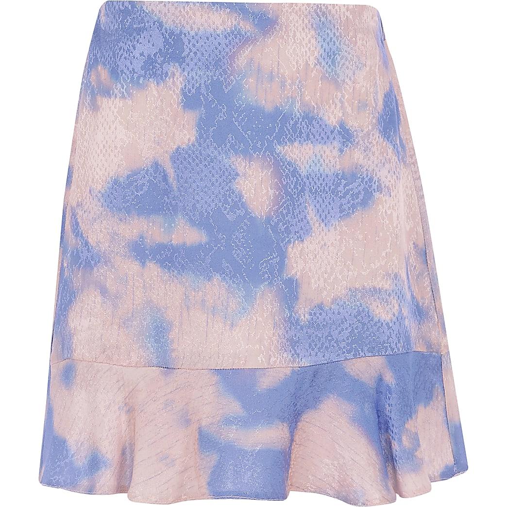 Girls blue tie dye frill hem skirt