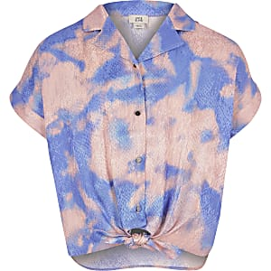 Chemise rose effet tie and dye pour fille