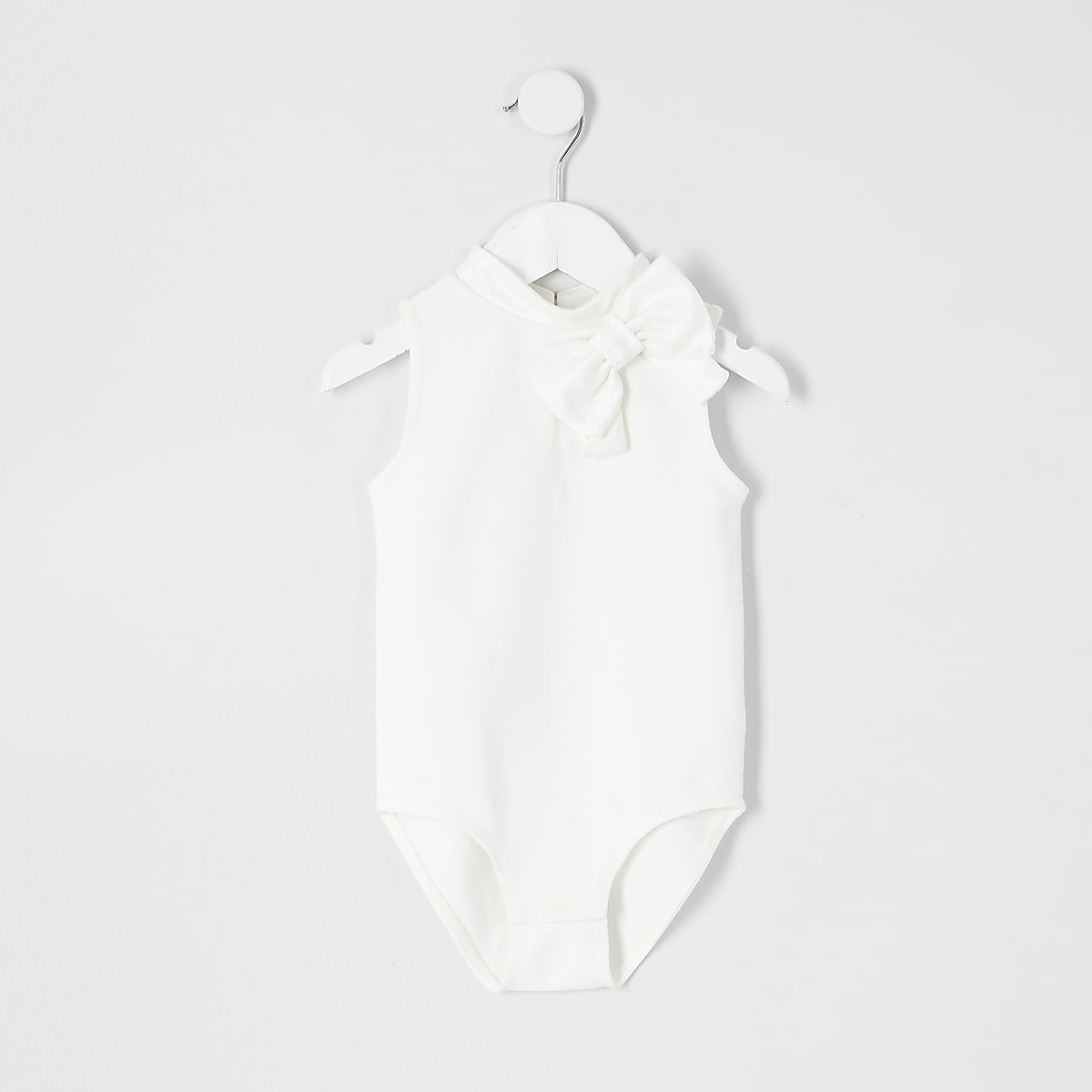 Mini girls cream bow bodysuit