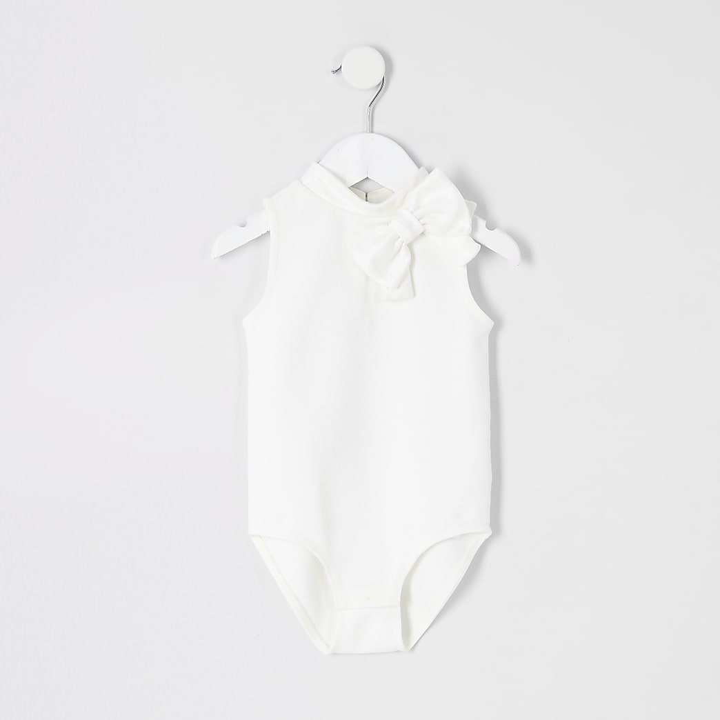 Mini girls cream bow bodysuit