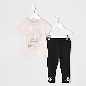 Mini - Outfit met roze T-shirt met print voor meisjes