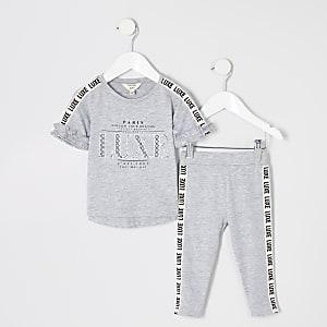 Outfit met grijs T-shirt met biezen met Luxe-print voor meisjes
