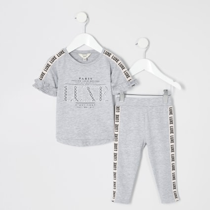 Girls grey 'Luxe' tape side T-shirt outfit