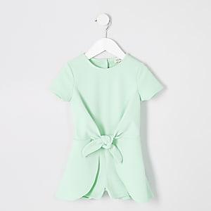 Combi-short vert noué sur le devant mini fille