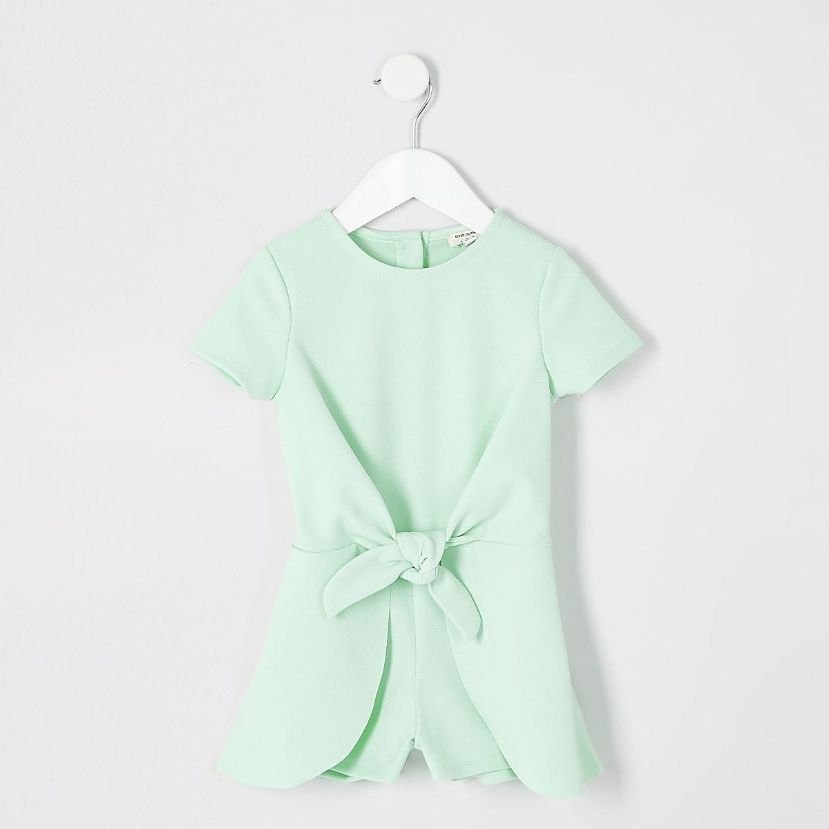Mini girls green knot front romper