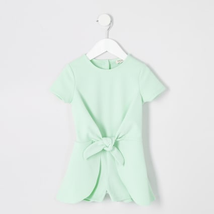 Mini girls green knot front playsuit