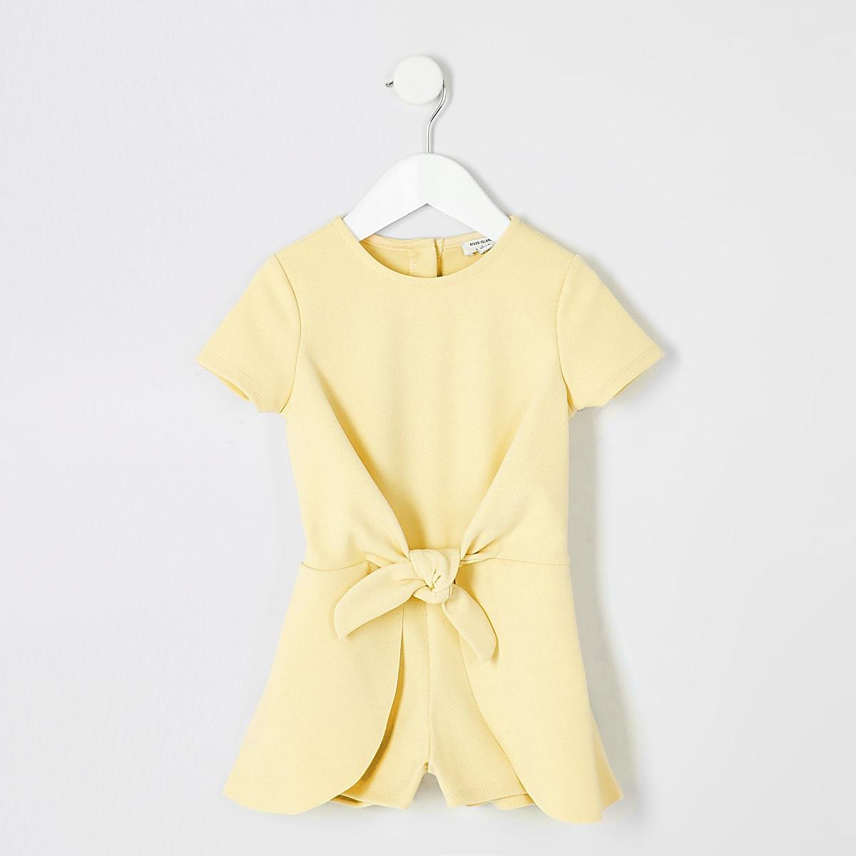 Mini - Gele playsuit met knoop voor meisjes