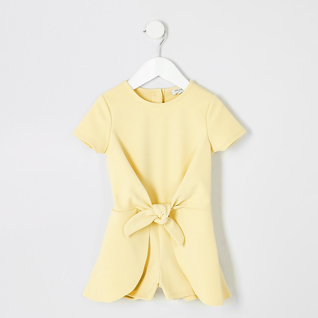 Mini girls yellow knot front playsuit