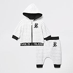 Tenue avec sweatà capuche RI en velours grisà rayures pour bébé