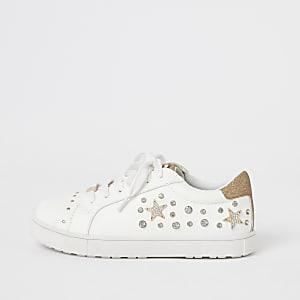Witte verfraaide sneakers met vetersluiting voor meisjes