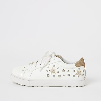 Girls white embellished lace-up trainers