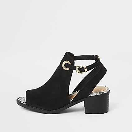 Girls black snake embossed cut out sandals