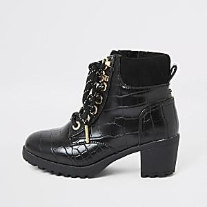 Zwarte wandelschoenen met met vetersluiting en krokodillenprint voor meisjes
