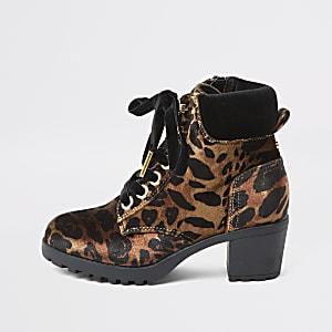Bruine hiking laarzen met veters en luipaardprint voor meisjes