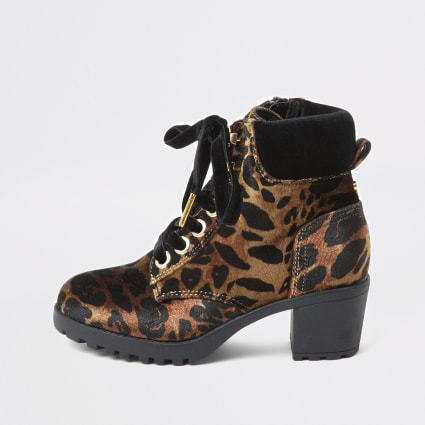 Girls brown leopard print lace-up hiking boot
