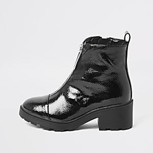 Robuste, schwarze Lack-Stiefel mit vorderem Reißverschluss für Mädchen