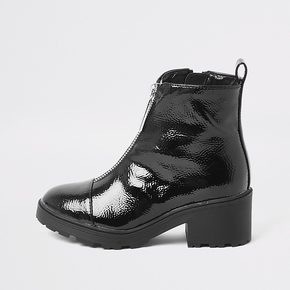 Girls black patent zip front boots