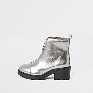 Zilverkleurige lakleren laarzen met  rits voor en hak voor meisjes