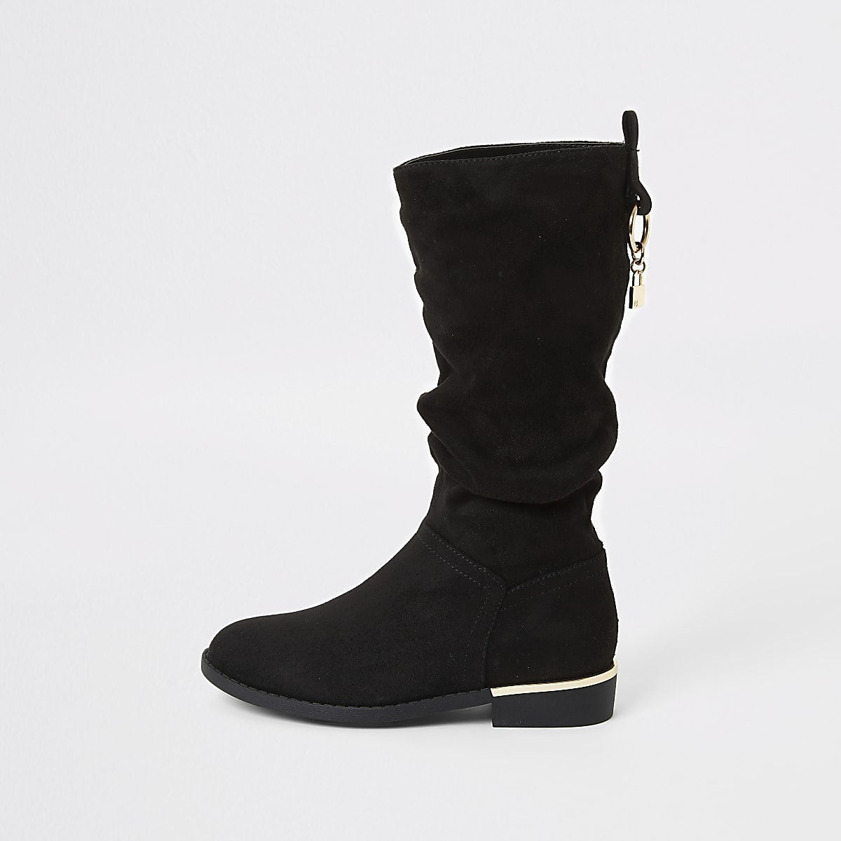 Zwarte losvallendekniehoge laarzen voor meisjes
