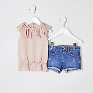 Mini - Outfit met roze top met ruches en short voor meisjes