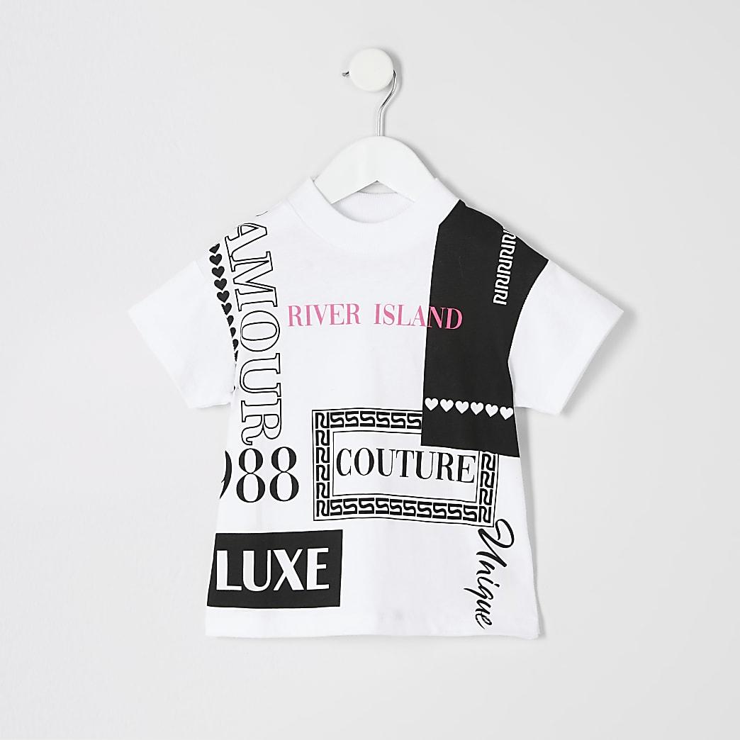 Mini girls white printed jumbo T-shirt