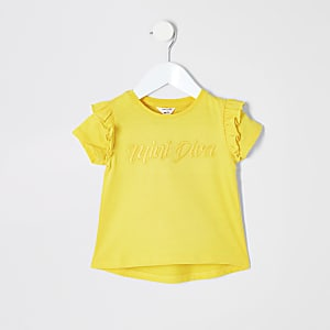 Mini - Geel 'mini diva' T-shirt voor meisjes