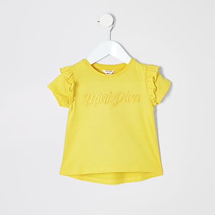 Mini girls yellow 'Mini diva' T-shirt