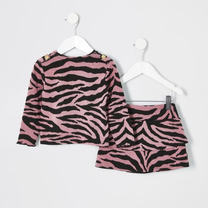 Mini girls pink zebra print outfit