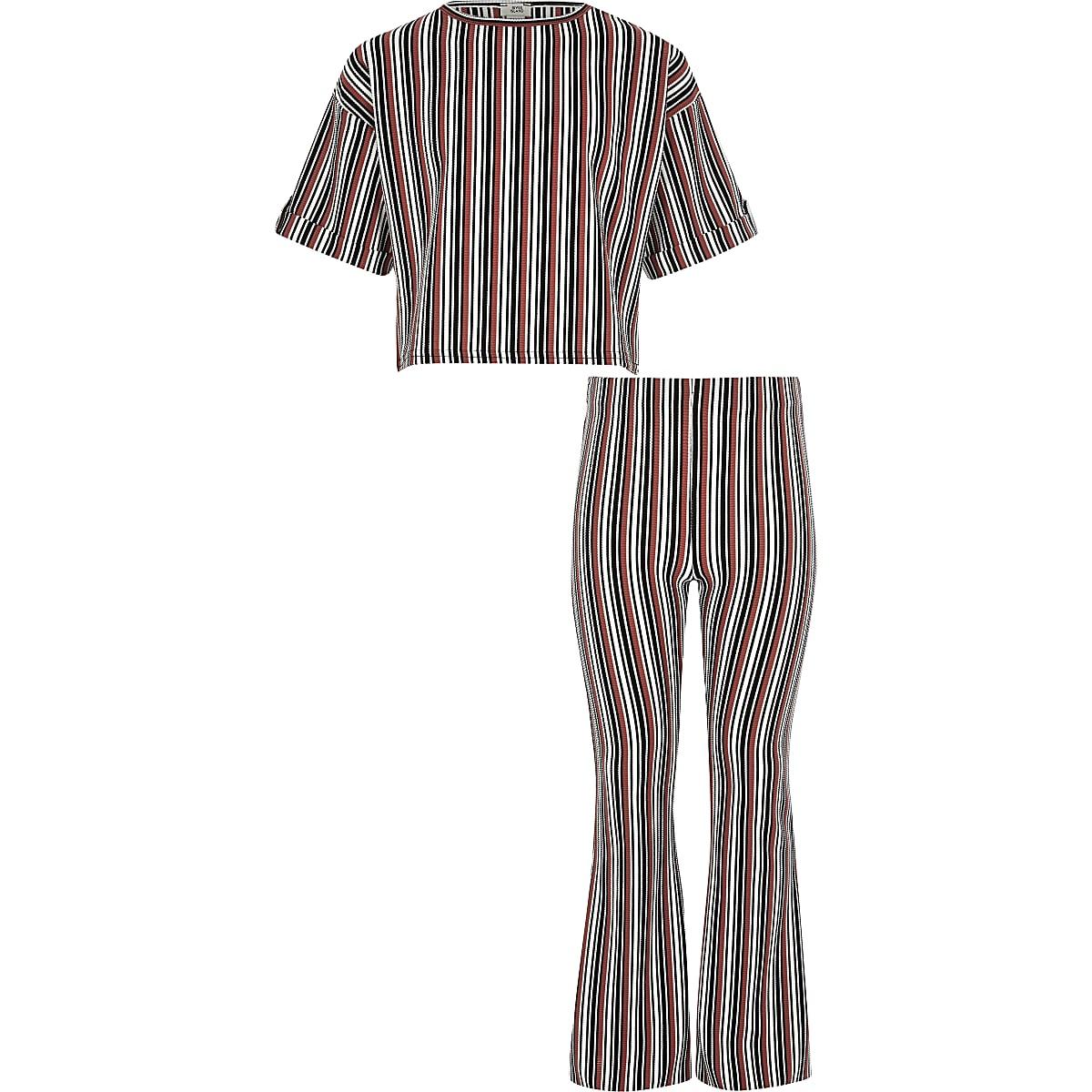 Girls black stripe T-shirt outfit