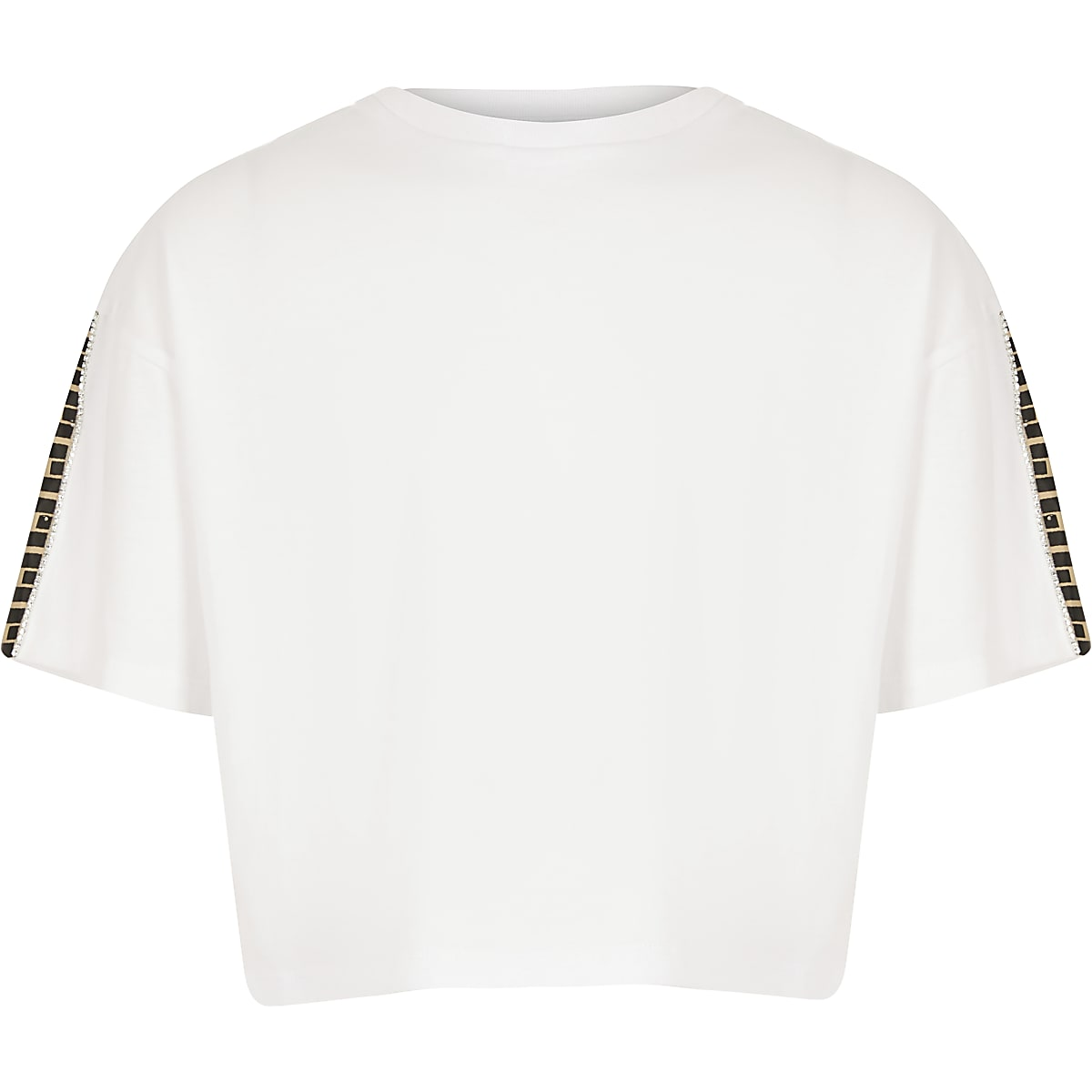 Girls white RI trim crop top