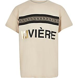 T-shirt beige à imprimé RI pour fille