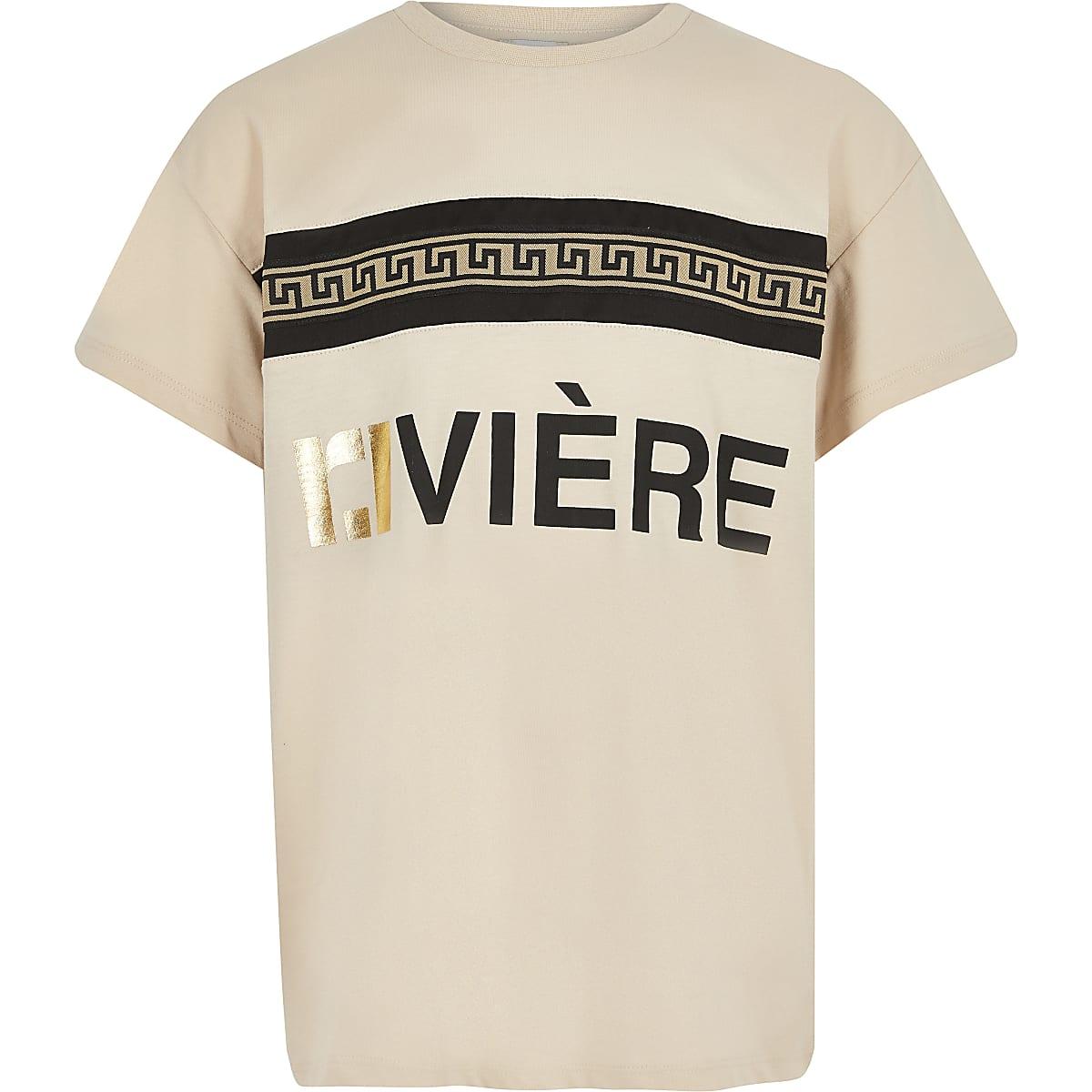 Beige T-shirt met RI-print voor meisjes