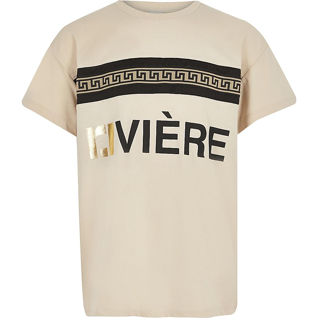 Girls beige RI print T-shirt