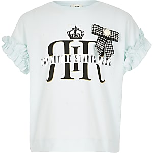 Lichtblauw T-shirt met RI-strik voor meisjes