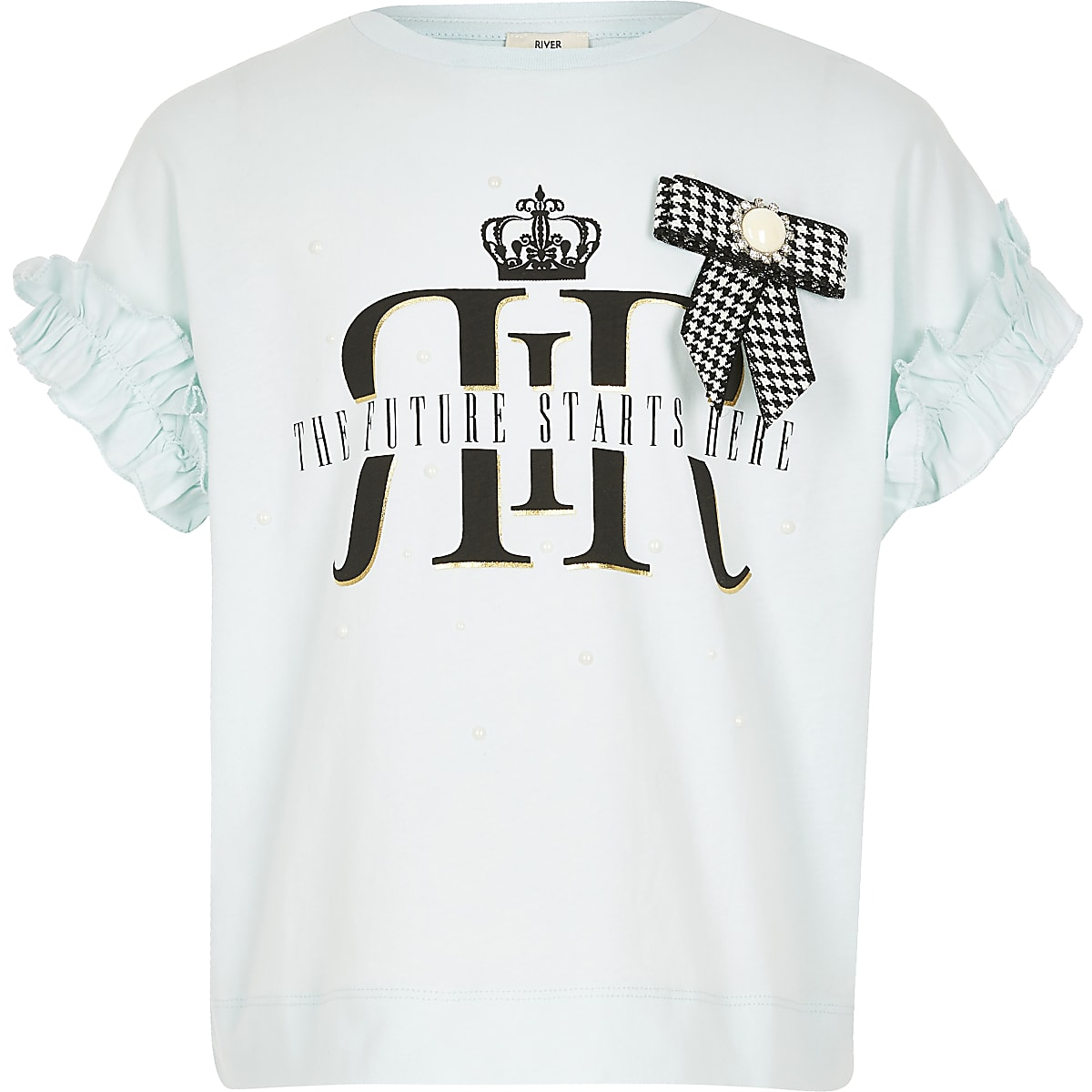 Girls light blue RI bow T-shirt