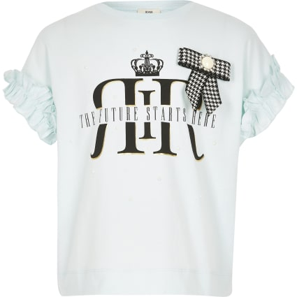 Girls light blue RI bow T-shirt