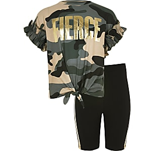 Girls brown 'Fierce' camo T-shirt outfit