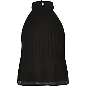 Top noir dos nu plissé pour fille