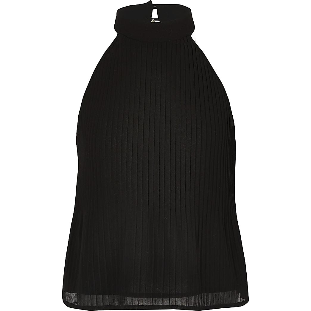 Zwarte geplooide top met halternek voor meisjes