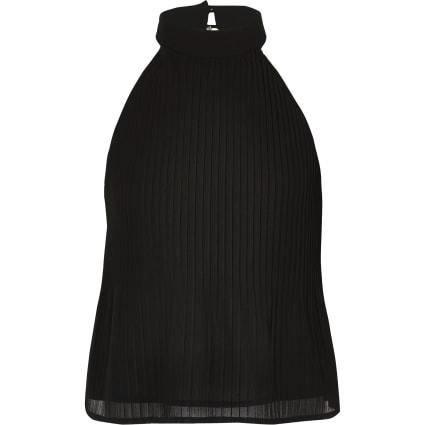 Girls black pleated halter neck top