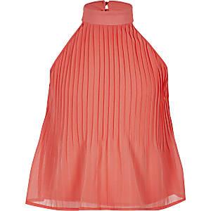 Koraalrode geplooide top met halternek voor meisjes