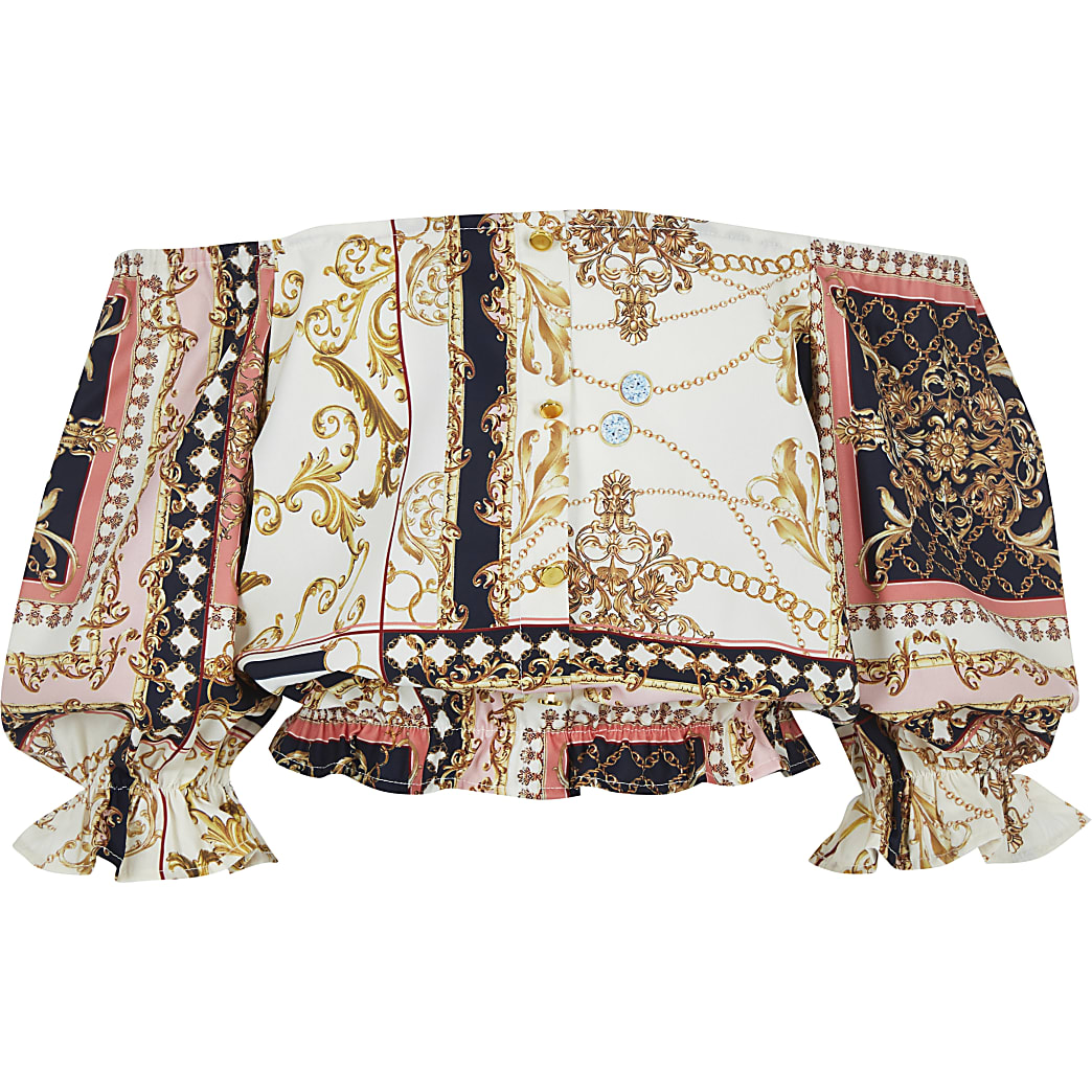 Girls pink baroque print bardot top