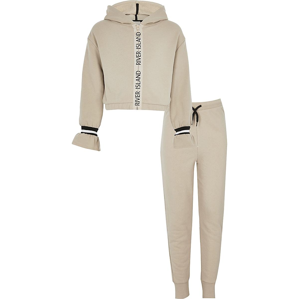 RI Active - Beige hoodie-outfit met ritsbies voor meisjes