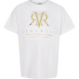 T-shirt motif RI en relief blanc pour fille