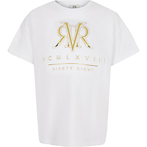 Wit T-shirt met RI in reliëf voor meisjes