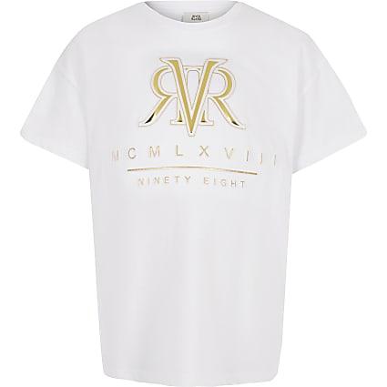 Girls white RI embossed T-shirt