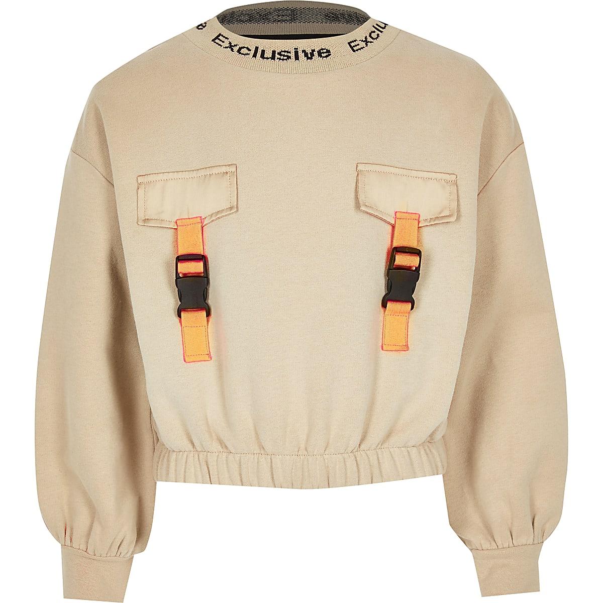 Lichtbruin sweatshirt met gespen voor meisjes