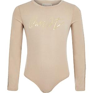 Girls RI Active beige print bodysuit