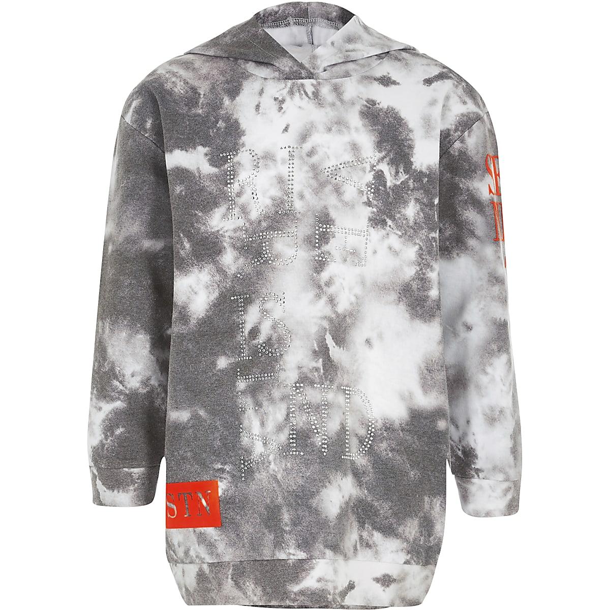 Girls grey embellished longline hoodie