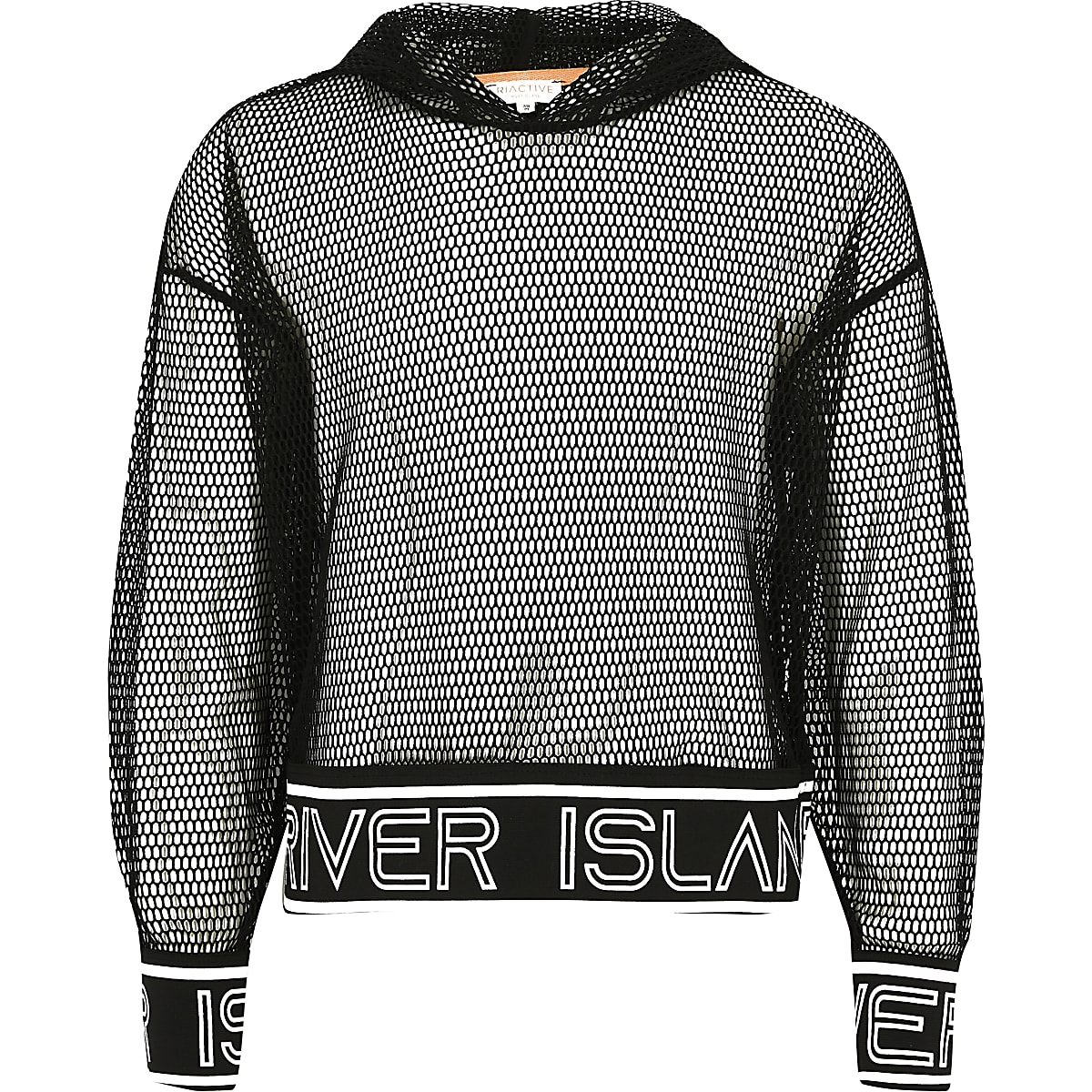 Girls black RI mesh hoodie